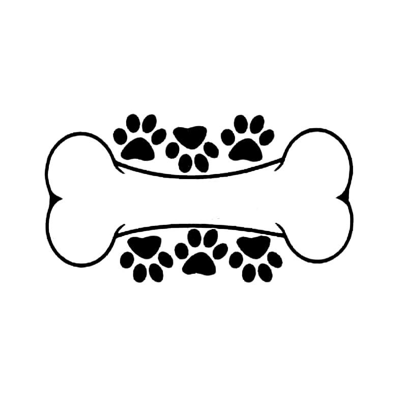 15.5cm*8.5cm Interesting Dog Paw Print And Dog Bone Vinyl Graphic Decal Car Sticker Decoration S6-3878