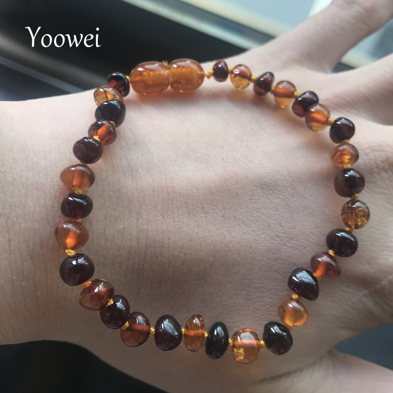 Yoowei New Baby Adult Amber Bracelet for Gift Natural Cognac Cherry Beads diy Customized Jewelry Baltic Amber Bracelet Wholesale