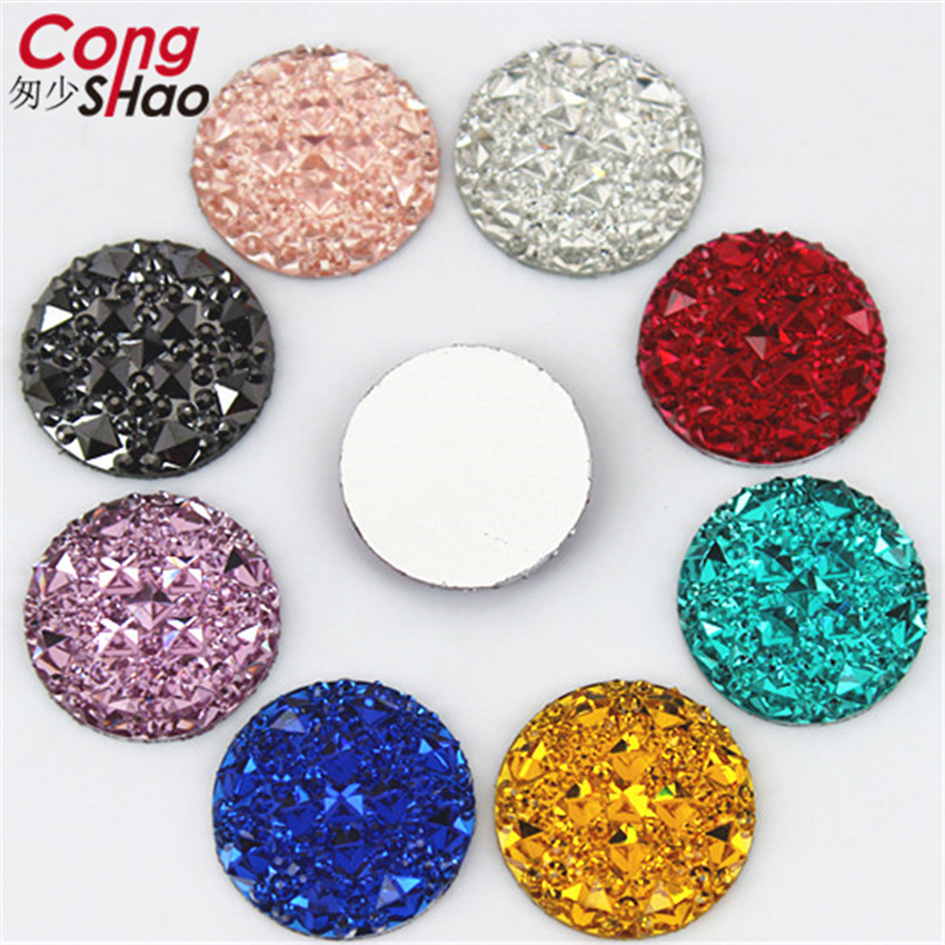 Купить с кэшбэком Cong Shao 100pcs 20mm Colorful Round Flat Back Beads Stones And Crystals Resin Rhinestone Applique DIY Costume Accessories YB414