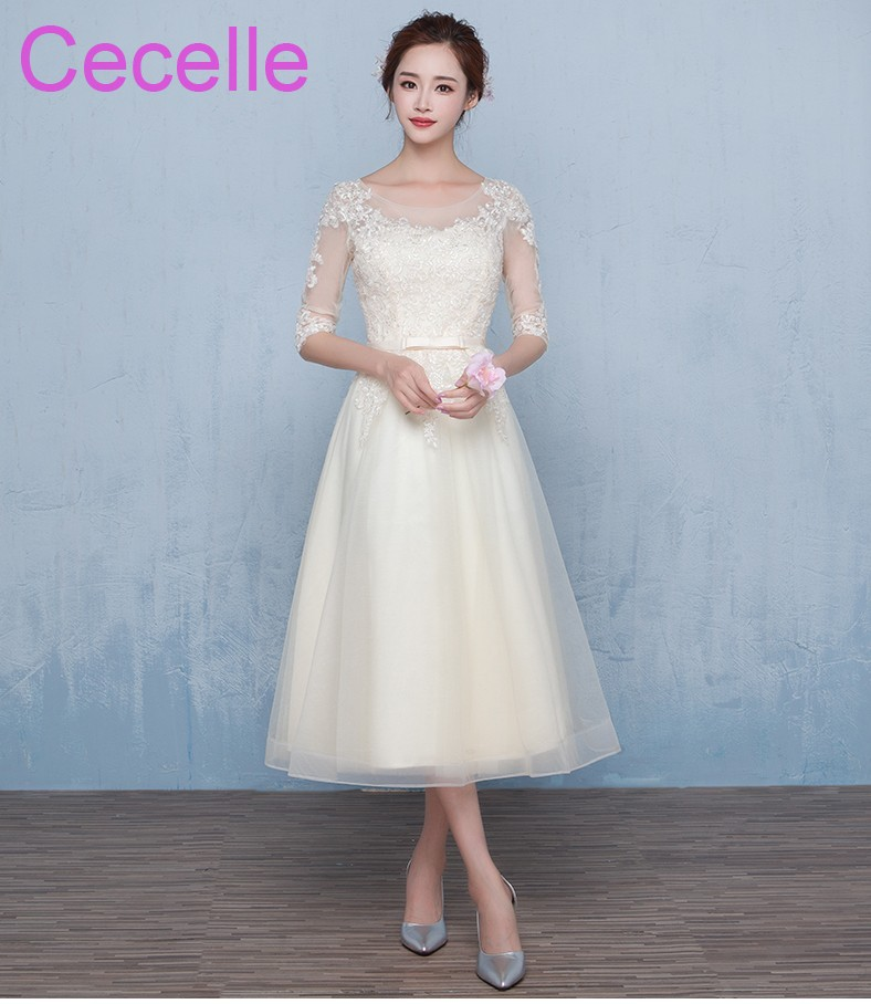 75c6ad7b81 Champage Tulle Lace Short Modest Bridesmaid Dresses With 1 2 Sleeves  Vintage Tea Length Country Western Party Dress Cheap-in Bridesmaid Dresses  from ...