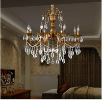Free Shipping Crystal Chandelier Hanging Light Fitting Antique Brass Crystal European Decora Drop Lustre for Living Room Light