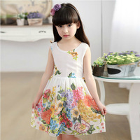 2016 Brand Girls Summer Backless Bow Dress Girls Beautiful Sleeveless Print Flower Chiffon Girls School Lovely