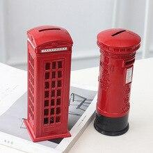 British retro tin alloy telephone booth postbox piggy bank decoration Creative home desktop