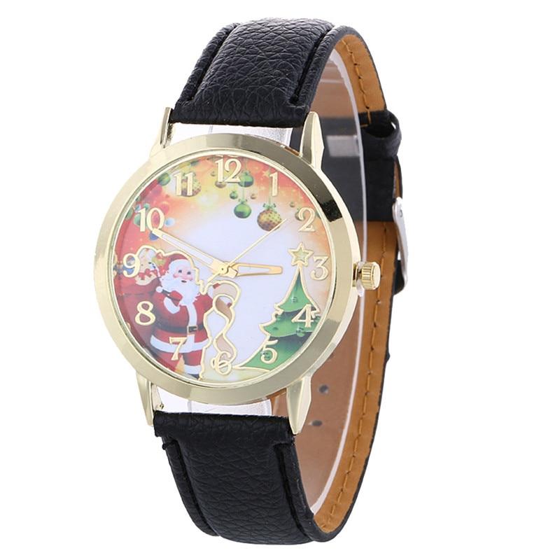 d736f64fc53 Novo Padrão De Natal Assista Pulseira de Couro Quartz Analógico Moda Relógios  de Presente Das Senhoras Das Mulheres Relógio de Quartzo Relógio Relogio ...