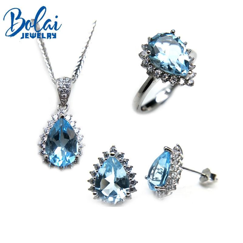 Bolaijewelry, naturel ciel topaze pendentif ou collier et anneau ou boucle d'oreille ensemble de bijoux 925 en argent sterling pour les femmes de mariage cadeau