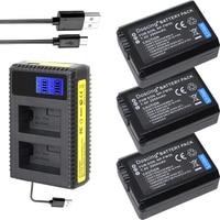 Doscing 3Pcs NP FW50 NP FW50 NPFW50 Battery Akku + LCD Dual Charger for Sony Alpha a6500 a6300 a7 7R a7R a7R II a7II NEX 3 NEX 5