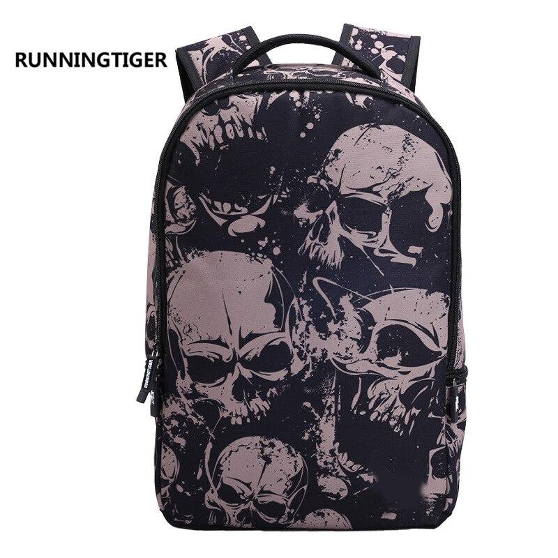 3D cartoon skull printing 2017 Men's Backpack Cool Skull women's Backpacks School Bags For Teenage girls boys Laptop backpack