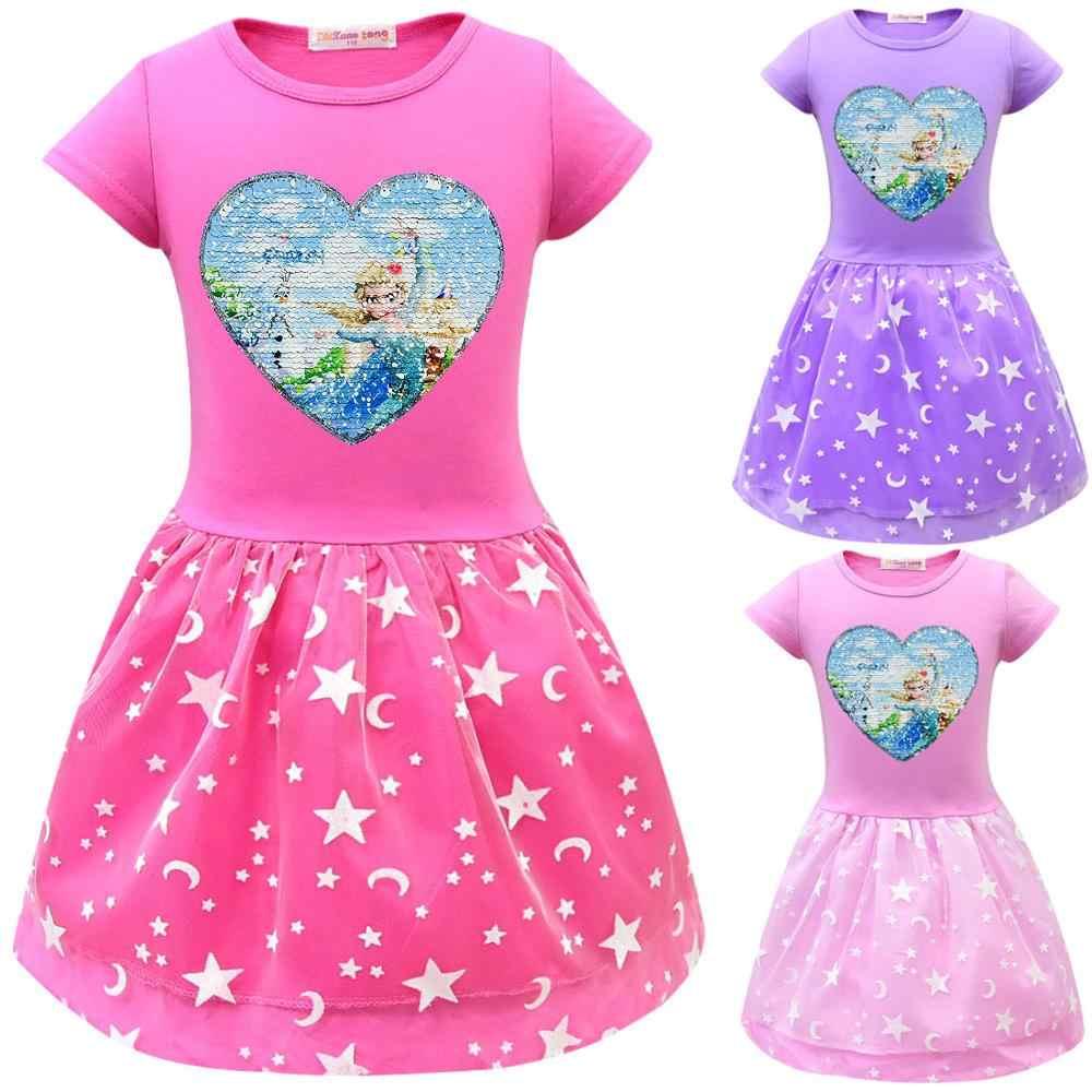 Летние платья Анны и Эльзы для девочек, праздничные платья принцессы с блестками для дня рождения и дня рождения, детские платья, платья, Fille, Подростковая детская одежда