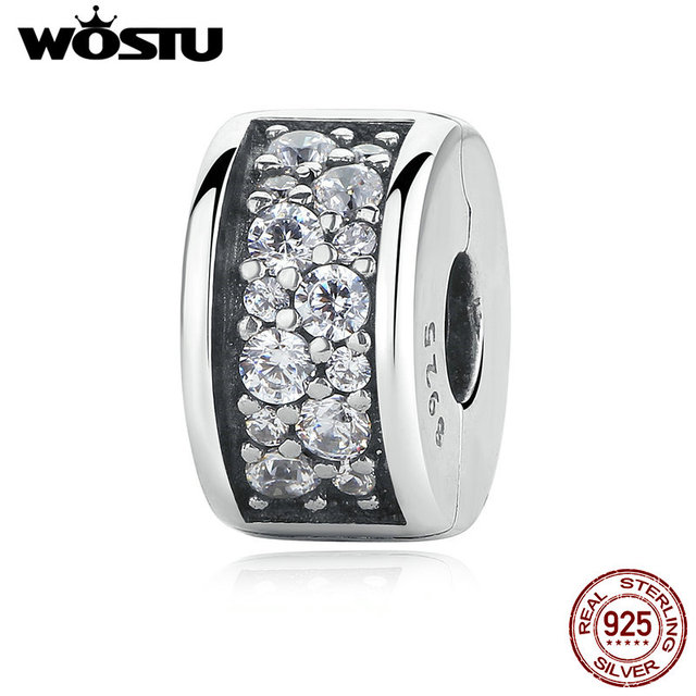 Real 100% 925 Sterling Silver Shining Elegance Clip Charm With Clear CZ Fit Original wst Bracelet Pendant Authentic Jewelry