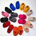 Spring Autumn New Style Newborn Baby Boy Girl Double Fringe Genuine Suede Leather Moccasins Soft Moccs Shoes First Walkers