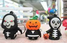 200pcs Luminous Halloween Keychain devil skull Pumpkin Death key chains Ornaments car rings Kindergarten Prizes Party Events