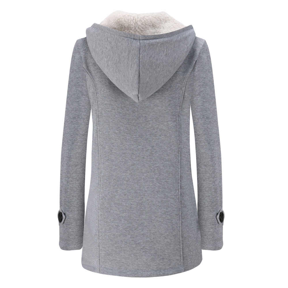 Casaco feminino compacto de lã, sobretudo para mulheres, com capuz e gola, manga longa, slim, com zíper