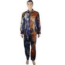 MD african men clothing print mens shirts pants two pieces set bazin riche shirt trousers suits male clothes