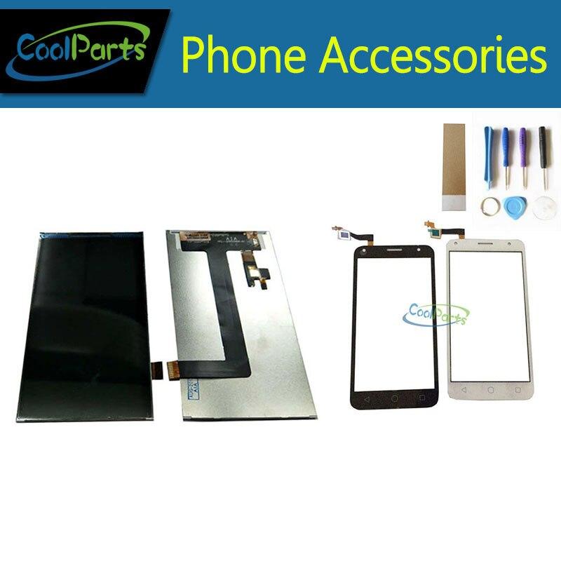 1 pc/lot de alta calidad ForAlcatel One Touch 5010 5010D OT5010 pantalla LCD + digitalizador de pantalla táctil Color blanco negro con la herramienta y cinta