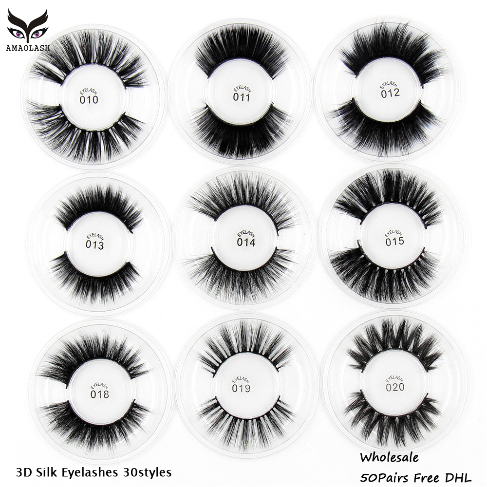 50pair Silk Eyelashes 3D Silk Protein Mink Lashes Medium Volume Natural long Dramatic False Eyelashes Handmade