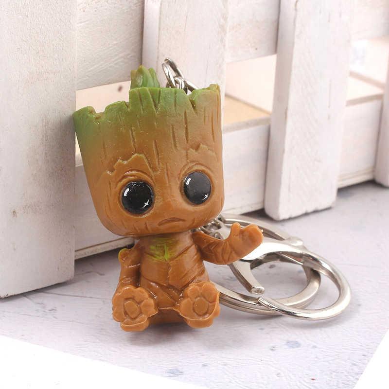 Rongji joyería guardianes de la galaxia soy Groot llavero vengadores marvel thor axe llave hombres mujeres joyería Accesorios