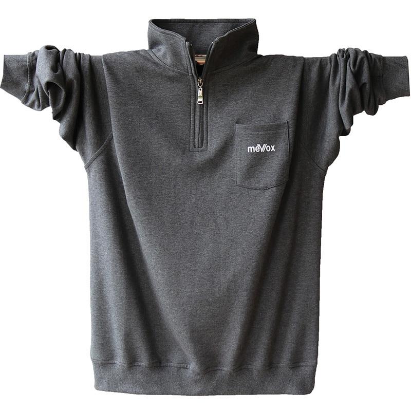 მაღალხარისხოვანი მამაკაცის გრძელი ყდის ბამბის პოლო პერანგი შემოდგომის მამაკაცის ტანსაცმელი Plus ზომა შემთხვევითი მყარი პოლო პერანგი 4XL 5XL A1526