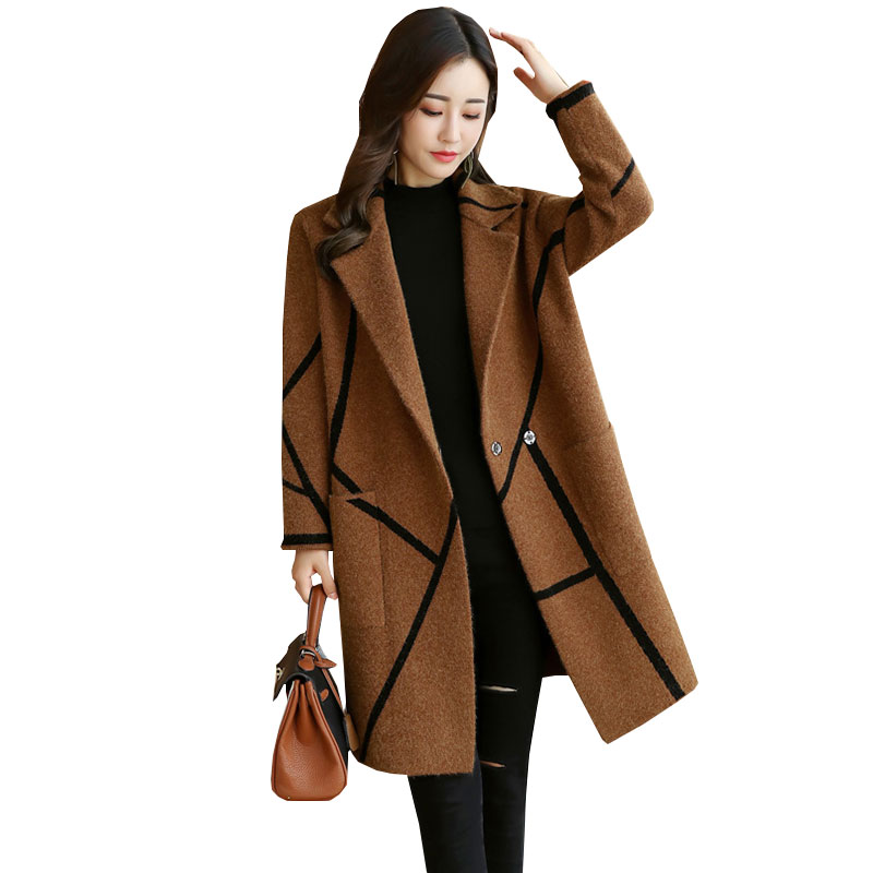 Plaid Knit Autumn Winter Wool Coat Women Korean 2018 New Large size Womens Coats Woolen Jacket manteau long femme hiver WZ544 womens winter jackets and coats winter jacket women coat manteau femme thickened long casaco feminino inverno abrigos 001