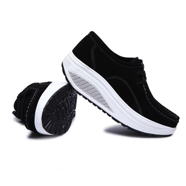 2017 Spring Casual Shoes Women Platform Body Shaping Shoes Fitness Shoes Fashion Genuine Leather Slimming Swing Shoes For Female 10