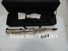 Wholesale one tube Soprano Saxophone Bb High F, G key nickel plating surface