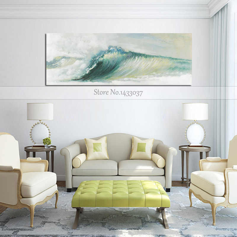 100% Hand Painted Sea Sunset Pictures Large Canvas Oil Painting On Cancas For Living Room Wall Art Home Decor Seascape Paintings