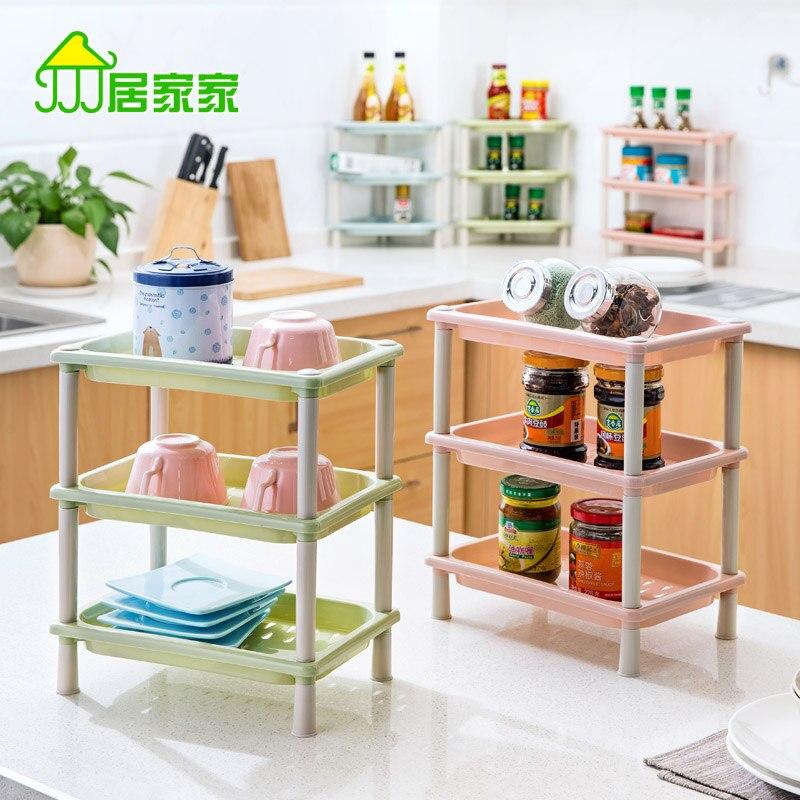 Escritorio de cocina estanterías rack multicapa habitación cuarto de baño  encimeras de rack de almacenamiento