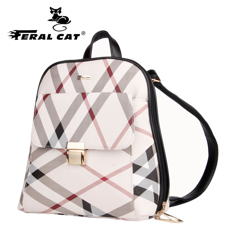 2017 FERAL CAT classic grid style fashion backpack all matching students large capacity the goddess of exclusive girl's leather