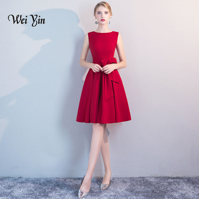 Wine Red   Cocktail     Dresses   weiyin Women 2019 Sleeveless Short Vestidos Sexy Homecoming   Cocktail     Dresses   WY878