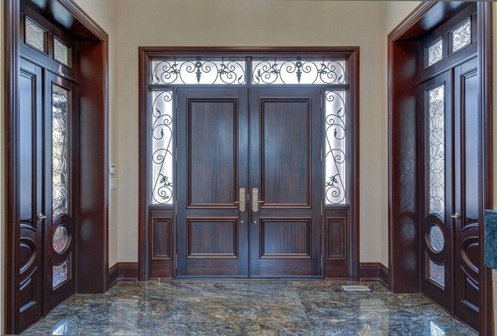 2019 новый стиль 2 панель очень прочная масивная древесина входная дверь краски класса интерьерная деревянная дверь входные двери ID1606033