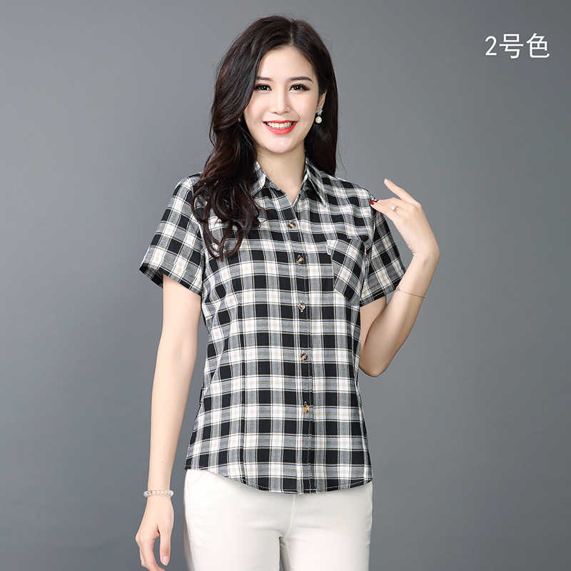 チェック柄ブラウスファッション夏半袖中年女性ブラウスルース女性の綿の格子縞シャツカジュアルトップスプラスサイズ 3XL
