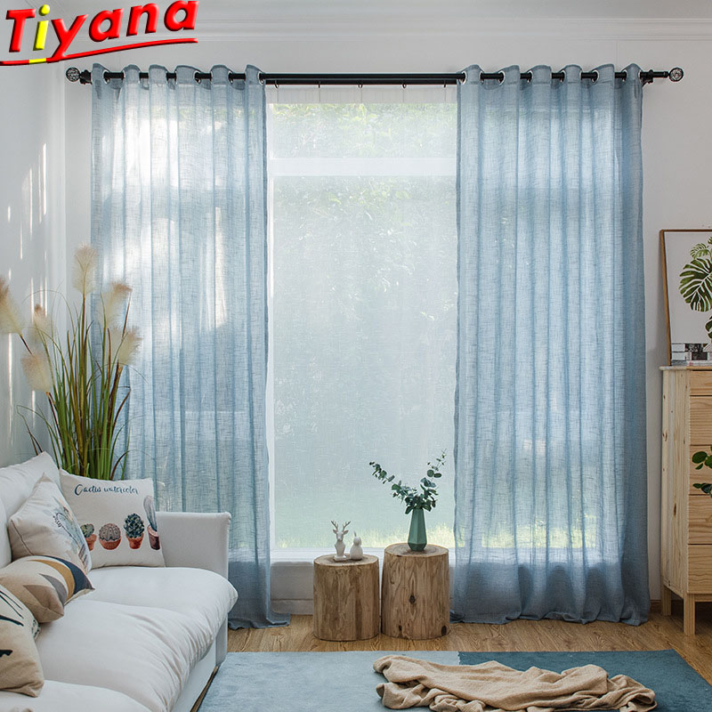 Modern Solid Blue Tulle Sheer Curtains For Living Room