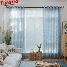 Modern Solid Blue Tulle Sheer Curtains for Living Room Kitchen Door Curtain Salon Cortinas Para Sala Bay Window su005*30