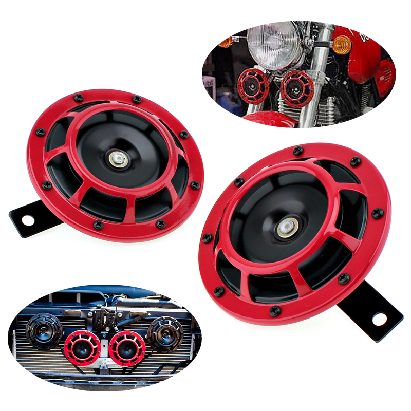 12V 2 PCS 4.8 Inch Red Super Loud Grille Mount Car Trumpet Universal 118dB Electric Blast Dual Tone Horn for Car / Motorcycle