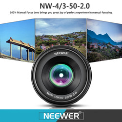 Neewer 50mm f/2.0 Manual Focus Prime Fixed Lens for OLMPUS/PANASONIC APS-C Digital Cameras As E-M1/M5/M10/ E-P5E-PL3/PL5/PL6/PL7