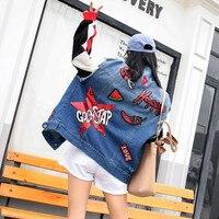 European Station 2019 Spring New Thai Street Fashion Chic Wind Letter Sequins Loose Fashion Denim Jacket Female