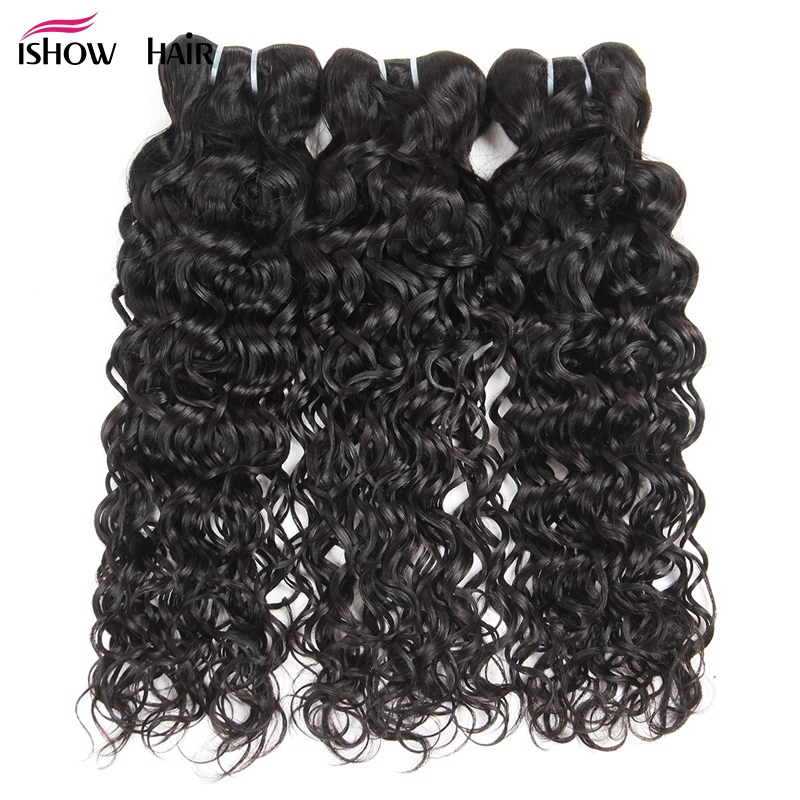Ishow Human Hair 3 Bundles Brazilian Water Wave 100 Human Hair Weave Bundles Natural Hair Extensions