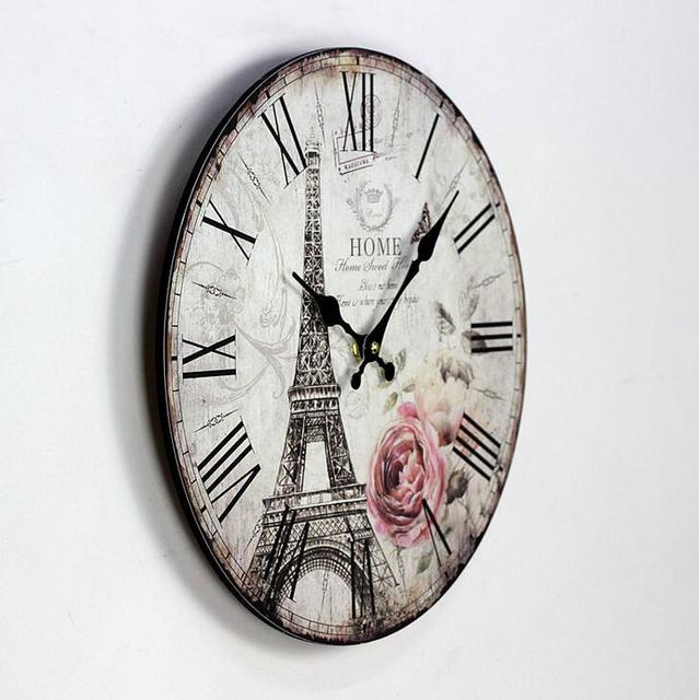Rose Eiffel Town Paiting Wood Clock Cafe Bar Home Decorative Digital Wall Clock Vintage Style