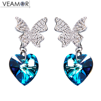 VEAMOR 925 Sterling Silver Butterfly Heart Stud Earrings Blue Crystal Earring Jewelry Ear Brincos Made With