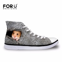 FORUDESIGNS Cute 3D Animal Ferret Pattern Men Vulcanize Shoes Flats Casual Student Canvas Shoes Fashion Student Boys Comfortable