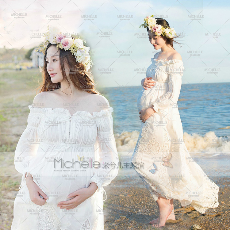 цены Pregnant Photography Props Photo Shoot Beautiful White Lace Hollow Maternity Shoulderless Dress Studio Fancy Elegant