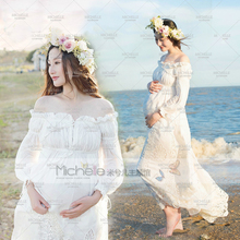 Pregnant Photography Props Photo Shoot Beautiful White Lace Maternity Shoulderless Dress Studio Fancy Elegant Baby Shower