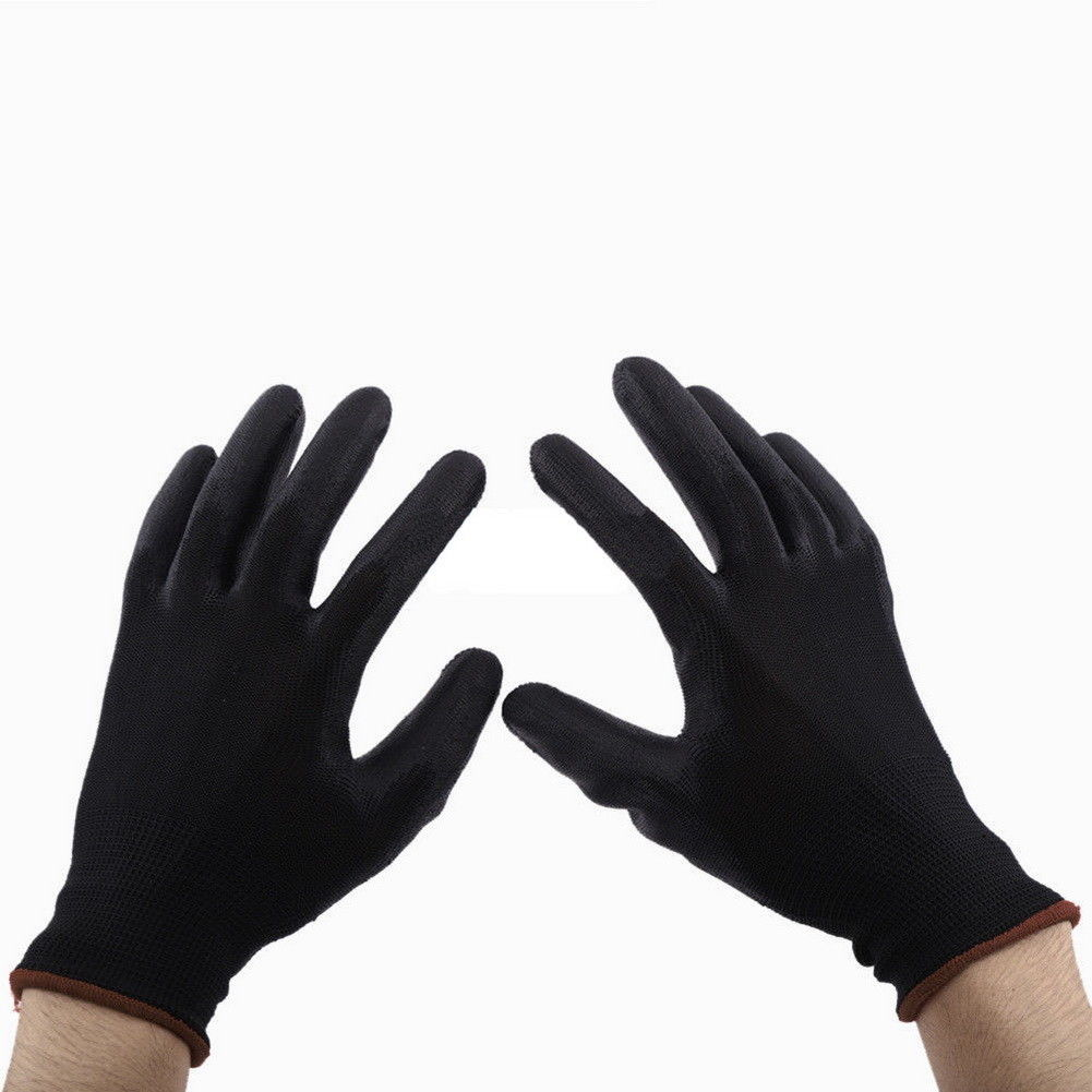 White Nylon Safety Work Builders Grip Palm PU Coating anti-static Gloves