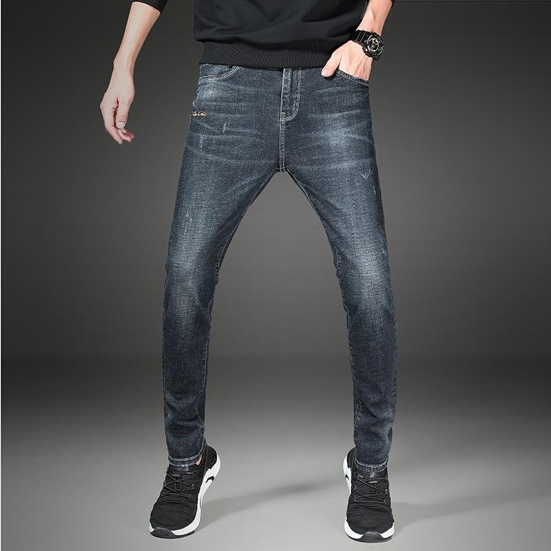 Punk Elastic Coarse Slanting Stripe Trousers Men Slim Mid Waist Full Length Patchwork Jeans With Pockets