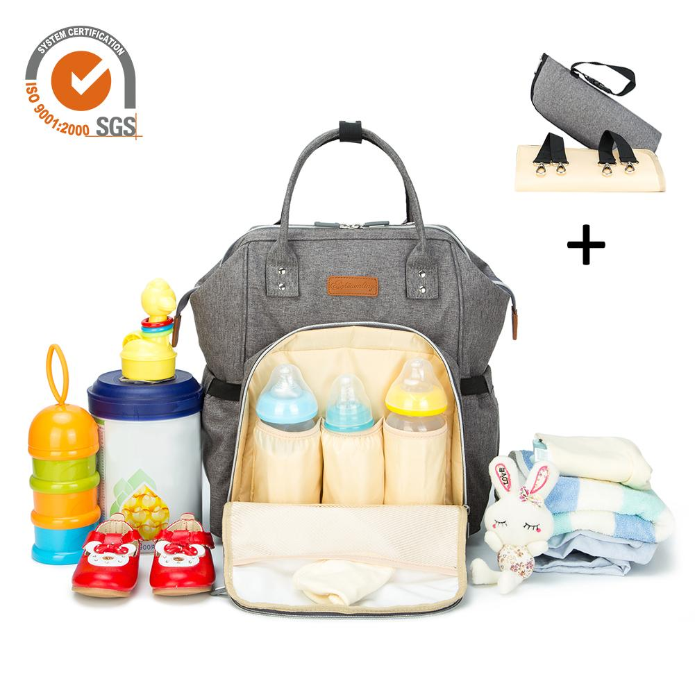 Multifunctional Large-Capacity Diaper Nappy Backpack With Changing Pad and Cooler Pocket For Bottle Storage For Mom and Dad
