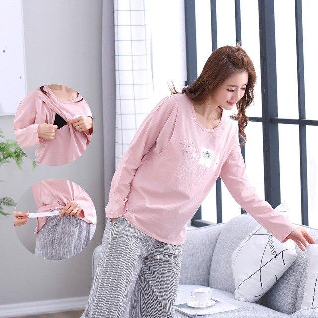 b2e856ed60 Breastfeeding pajama breast feeding nightwear maternity pajamas nursing set maternity  nursing sleepwear pregnancy pyjamas winter