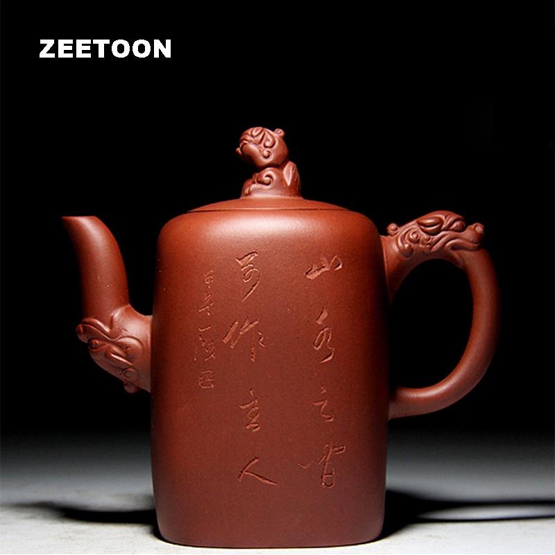 420cc Authentique Yixing Théière À La Main Chef-d 'Œuvre Argile Pourpre Kung Fu Thé Ensemble De Santé Chinois En Céramique Sifang Dragon Pot Nouveau