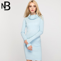 Autumn Suit dress England Wind Solid Color High Lead Knitting Sleeve Long Self cultivation Woman Dress Sweater