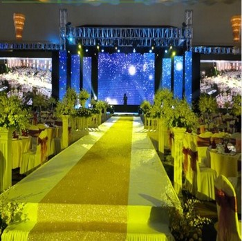 Wedding Party Glitter Carpets Decoration Mariage Shiny Nonwoven Rug Aisle Runner 1mx10m Gold Purple White 10colors