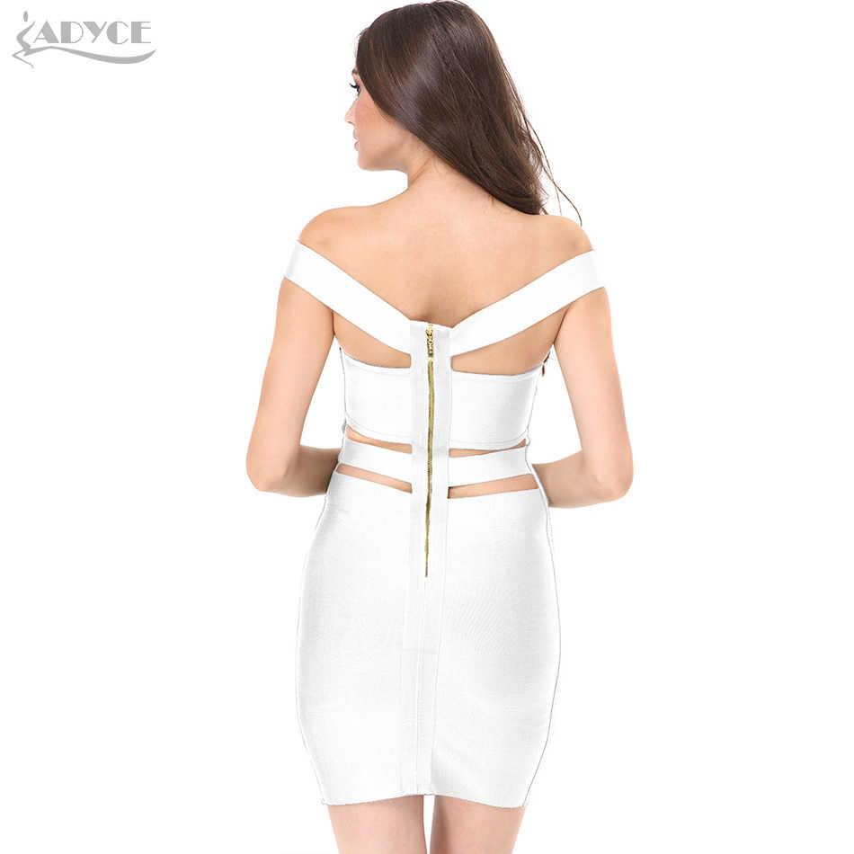 ADYCE 2019 נשים מסיבת קיץ תחבושת שמלות כבוי כתף לגזור שמלה לבן שחור אלגנטי סלבריטאים קוקטייל Bodycon שמלה