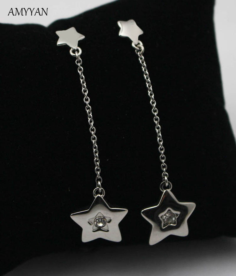 Top Quality Stainless Steel Female Long Earrings For Women Jewelry Long  Dangle ear Double Star Charm Earrings a79aba60902f